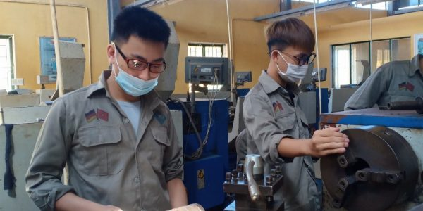 Students in practical session at Metal cutting class