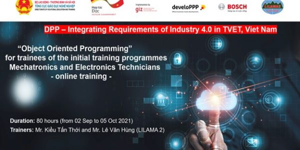 Mr Le Van Hung – LILAMA 2 master trainer instructs trainees to programme with the advanced programming language – Python.
